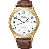 【台南 時代鐘錶 SEIKO】精工 SPIRIT 悠閒品味時尚腕錶 SGEH78P1@7N42-0FW0K 皮帶 金 40mm