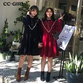 中大尺碼 捲邊立領V字長袖洋裝~共兩色 - 適XL~5L《 67349HH 》CC-GIRL
