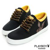 PLAYBOY 條紋兔頭 高筒休閒鞋-黑(男鞋)