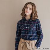 【GIORDANO】 女裝法蘭絨溫暖磨毛長袖襯衫 - 22 寶藍/紅/白格紋