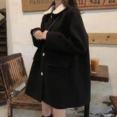小個子毛呢外套女2019秋冬新款韓版寬鬆加厚娃娃領小香風呢子大衣 探索先鋒