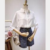 襯衫—夏裝新款韓版中袖襯衫女寬鬆休閒百搭白色棉麻襯衣短袖C892 依夏嚴選
