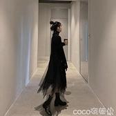 網紗連身裙 2021秋冬新款赫本風網紗連身裙針織毛衣氣質小黑裙兩件套裝裙子女 coco
