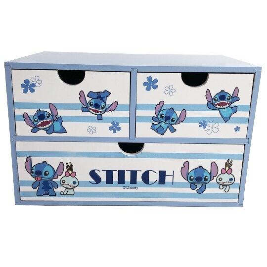 小禮堂 迪士尼 史迪奇 橫式木質三抽收納櫃 桌上型收納櫃 抽屜櫃 小木櫃 (藍 橫紋) 4710374-19205