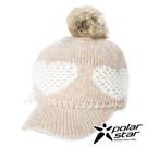 【PolarStar】女保暖馬球帽-愛心『卡其』P20602 冬季.禦寒.保暖.毛球帽.素色帽.針織帽.毛帽.毛線帽