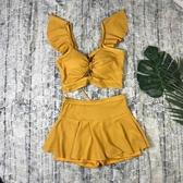 分體泳衣女兩件套性感鏤空比基尼小清新美背裙式平角少女游泳裝