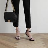 性感一字扣帶涼鞋新款夏季百搭高跟鞋細跟黑色時裝女鞋仙女風 【快速出貨】