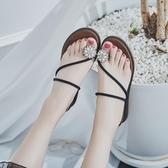 新款人字拖女夏中跟沙灘鞋海邊時尚外穿坡跟防滑夾趾涼拖鞋女 居享優品