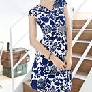 針織彈力V領腰鑽青花瓷連身裙  (M7SS)