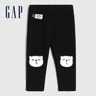 Gap嬰兒 可愛動物刺繡鬆緊休閒褲 485217-黑色