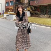 秋冬新款韓版女裝氣質碎花雪紡長袖襯衫洋裝 小宅妮