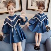 女童連身裙春秋裝正韓時尚單寧牛仔裙兒童裝長袖洋氣時髦裙子