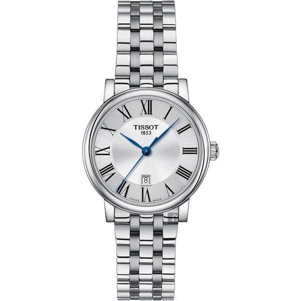 TISSOT 天梭 Carson 羅馬石英女錶-銀/30mm T1222101103300