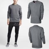 Nike T恤 NSW Tech Fleece Crew 灰 黑 大學Tee 口袋 長袖上衣 男款 【ACS】 805141-091