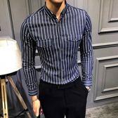 【免運】長袖襯衫男 英倫韓版修身袋蓋口袋 男士長袖襯衫個性雅痞發型師潮 隨想曲