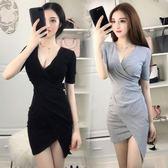 雙十二預熱 夏季新款時尚性感夜店女裝不規則修身顯瘦v領低胸包臀連身裙