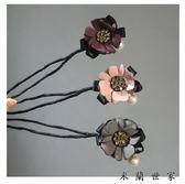 丸子頭水鉆花朵盤發器韓版發帶