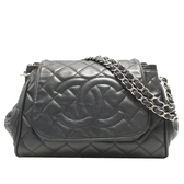 CHANEL 香奈兒 黑色荔枝紋牛皮銀釦肩背包 Timeless Accordion Flap Bag 【BRAND OFF】