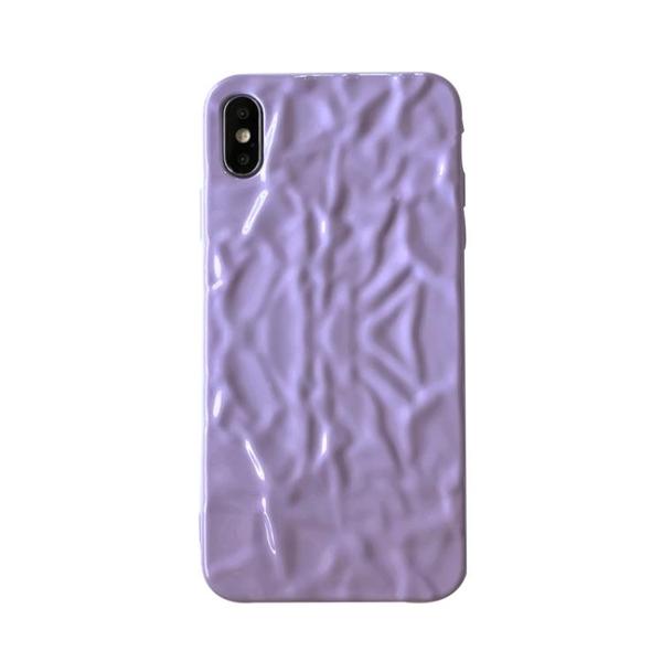 ins紫色褶皺蘋果xs/11promax手機殼iPhone8/7plus防摔6軟殼女款xr