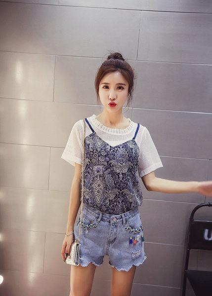 找到自己 G5 韓國時尚 網格 透視 復古 印花 假兩件式 T恤 短袖上衣