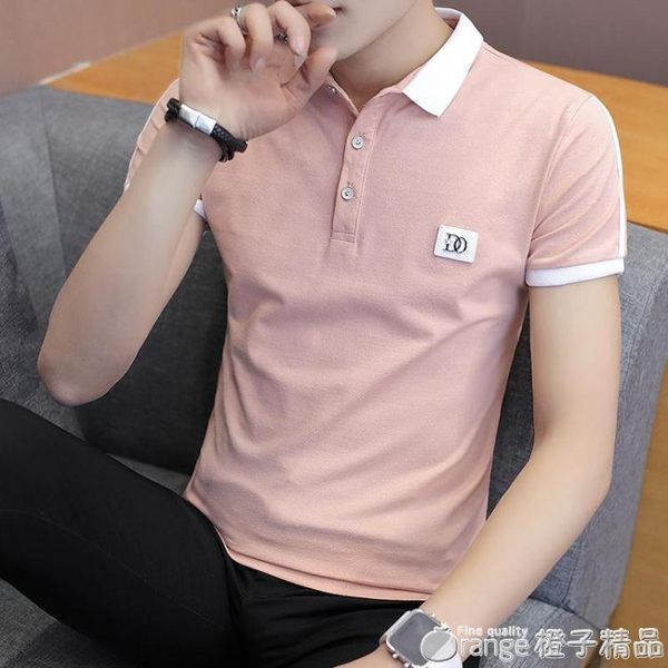 夏季潮流韓版襯衫領短袖POLO衫2019新款有帶領短袖T恤男翻領衣服   (橙子精品)