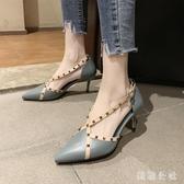 涼鞋女仙女風2020新款夏季淺口尖頭單鞋網紅鉚釘一字帶細跟高跟鞋 DR35013【美鞋公社】