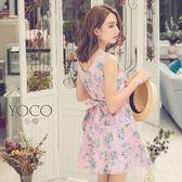 東京著衣【YOCO】輕甜俏麗腰綁帶印花滾邊無袖洋裝-XS.S.M(6012907)