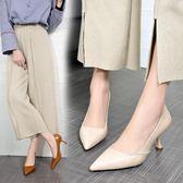 高跟鞋歐美風新款軟皮女米色時尚OL工作尖頭鞋淺口細跟單鞋  XY4648 【KIKIKOKO】