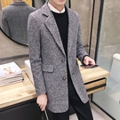 [超豐國際]冬季青年男士翻領大衣中長款風衣加厚外套男修身韓版