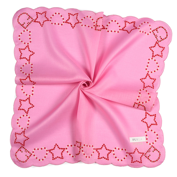 FURLA點點印花波浪滾邊純綿帕領巾(粉紅色)989250-8