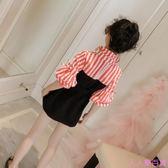 童裝女童洋氣連衣裙女孩春秋裝新款中大兒童長袖條紋公主裙子