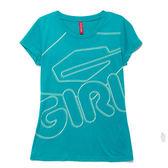 TOP GIRL- 線型LOGO印圖T恤-藍綠
