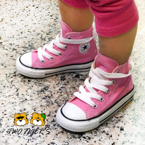 CONVERSE ALL STAR 粉紅色 基本款 鞋帶款 高筒帆布鞋 小童鞋 NO.Q7238