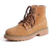 女短靴 平底靴 秋冬新款歐美真皮boots復古情侶男厚底牛皮女鞋子馬丁靴子《小師妹》sm2724