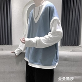 秋衣男長袖寬鬆秋季假兩件t恤ins潮流潮牌衛衣新款秋裝上衣服 極簡雜貨