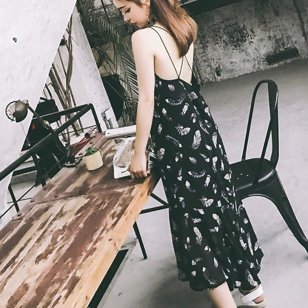 梨卡★現貨 - 夏日度假沙灘印花雪紡長洋裝顯瘦洋裝連身裙連身長裙沙灘裙C6264