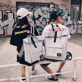 韓版學院風帆布雙肩包大容量書包女日系BF情侶背包學生手提電腦包 一次元