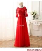 (45 Design)  7天到貨 新客製化顏色大尺碼訂做服10 婚紗禮服伴娘晚會主持人中長版蕾洋裝