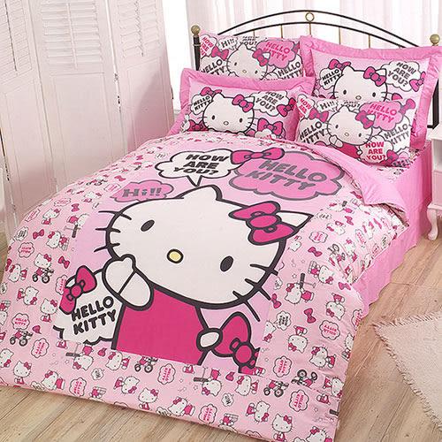 【享夢城堡】HELLO KITTY 嗨~你好嗎系列-精梳棉雙人床包兩用被組(粉)(紅)