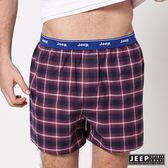 【JEEP】五片式剪裁 純棉平口褲 (紅黑格紋)