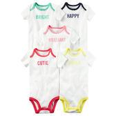 美國Carter's卡特童裝 女寶寶 短袖純天然棉包屁衣 五件組 文字圖案【CA126G760】