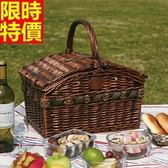 野餐籃 餐具組合-純手工編製四人份田園風郊遊用品68e29【時尚巴黎】