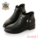 amai頂級牛皮-微彈性皮帶設計低筒短靴 黑