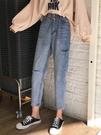 破洞褲韓版怪味少女褲直筒褲子寬鬆網紅高腰九分破洞牛仔褲女春新年禮物