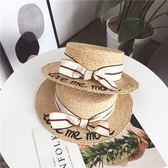 2018夏新款韓國字母刺繡草帽蝴蝶結拉菲草小盆帽沙灘度假遮陽帽潮  巴黎街頭
