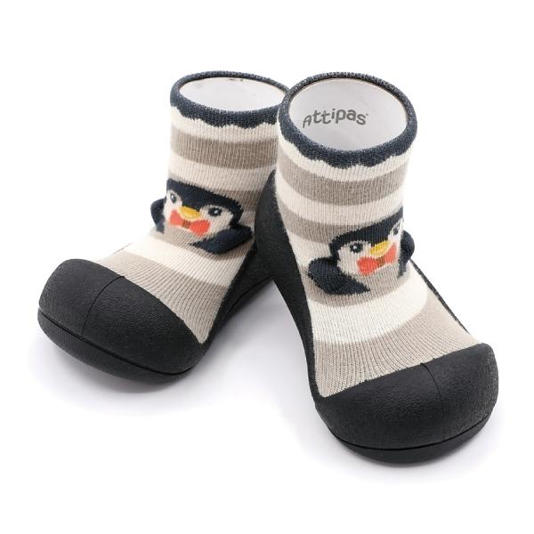 韓國 Attipas 快樂腳襪型學步鞋-黑底企鵝