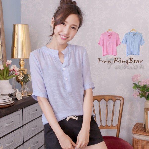 立領--隨興慵懶款雙釦小立領五分袖輕薄襯衫(粉.藍XL-5L)-U351眼圈熊中大尺碼