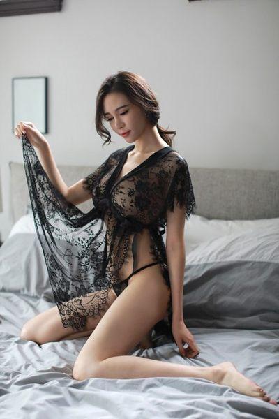 性感情趣睡衣家居睡衣 蕾絲V領睫毛邊短裙性感單面側開誘惑2件套 高檔品質 《全新現貨》77