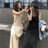 內搭洋裝 秋季2020新款韓版網紅休閒吊帶針織洋裝中長款背心打底裙女裝潮-米蘭街頭