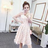 蕾絲洋裝 連身裙女韓版時尚氣質修身顯瘦蕾絲拼接小禮服裙子潮 迪澳安娜